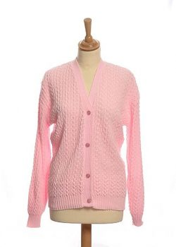PINK CABLE CARDIGAN